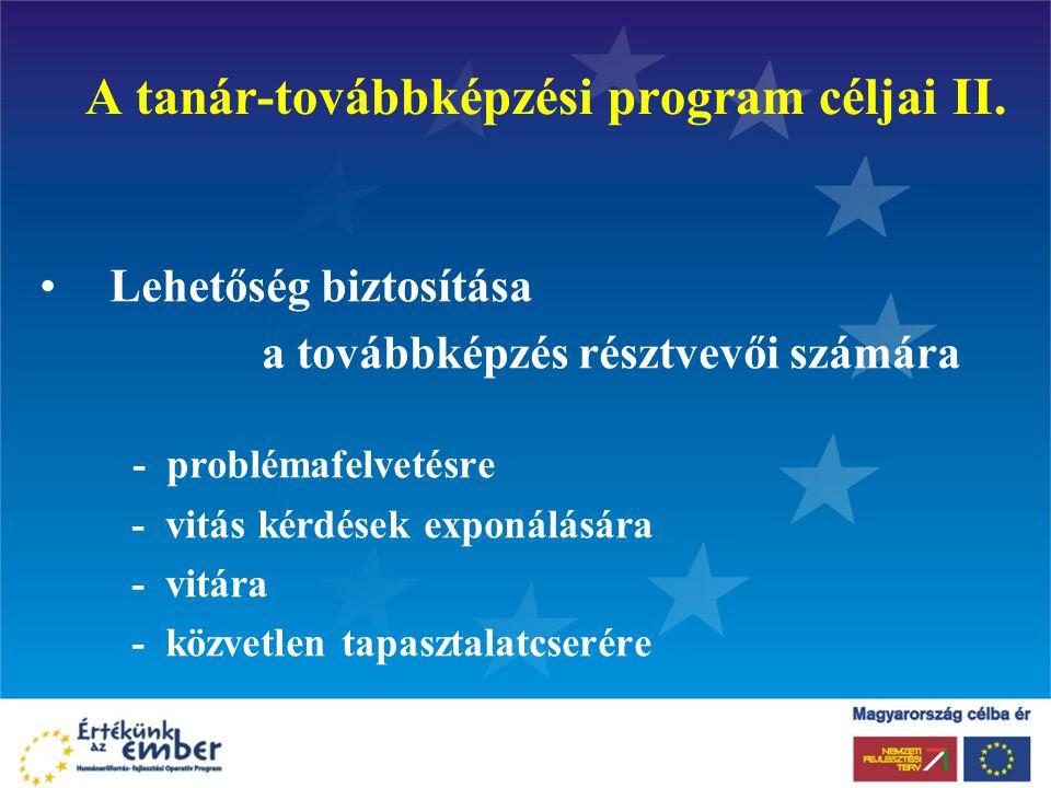 A tanár-továbbképzési program céljai II.