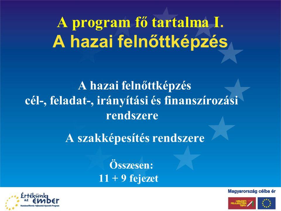 A program fő tartalma I. A hazai felnőttképzés