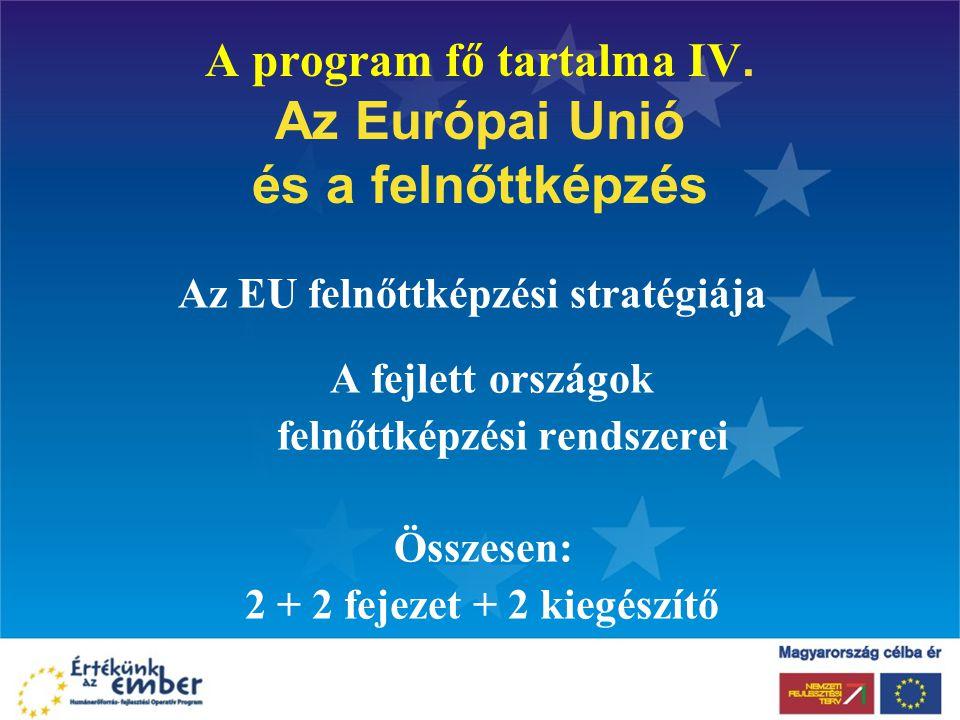 A program fő tartalma IV. Az Európai Unió és a felnőttképzés