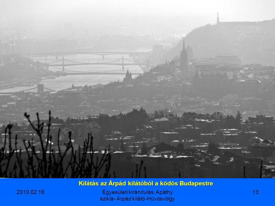 Kilátás az Árpád kilátóból a ködös Budapestre