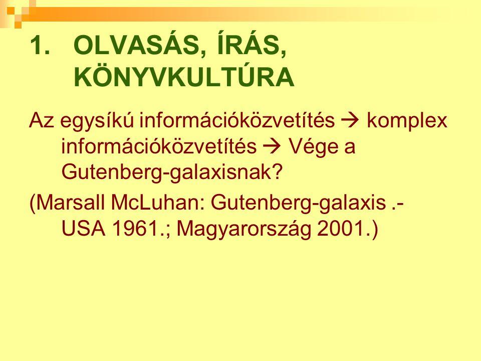OLVASÁS, ÍRÁS, KÖNYVKULTÚRA