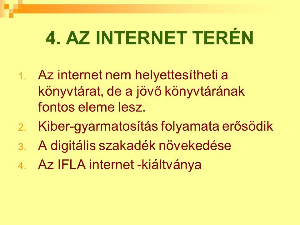 4. AZ INTERNET TERÉN Az internet nem helyettesítheti a könyvtárat, de a jövő könyvtárának fontos eleme lesz.