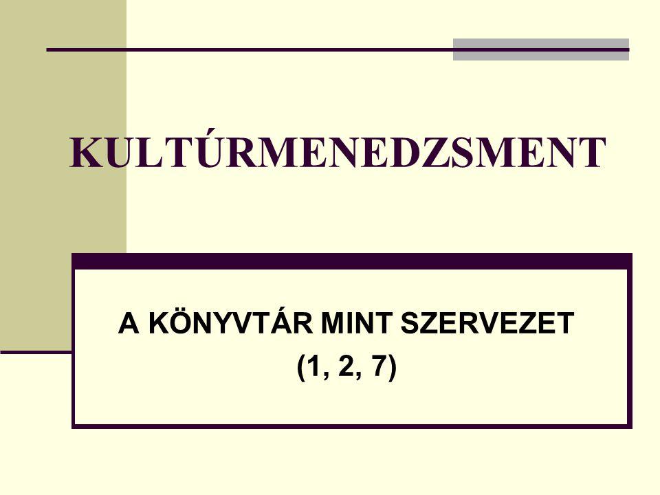 A KÖNYVTÁR MINT SZERVEZET (1, 2, 7)