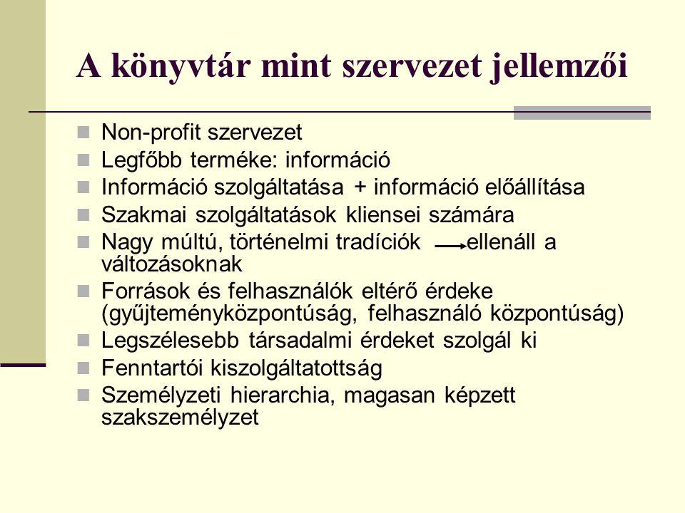 A könyvtár mint szervezet jellemzői