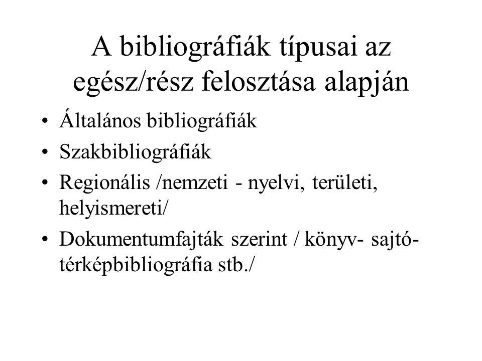 A bibliográfiák típusai az egész/rész felosztása alapján