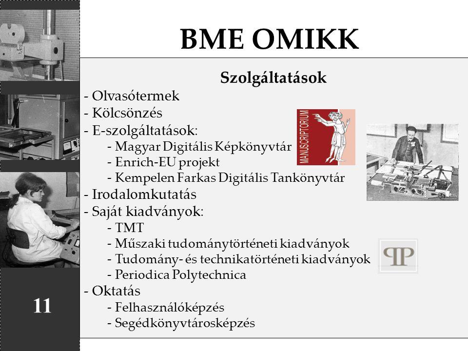 BME OMIKK 11 Szolgáltatások Olvasótermek Kölcsönzés E-szolgáltatások:
