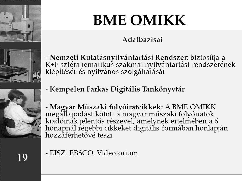 BME OMIKK Adatbázisai.