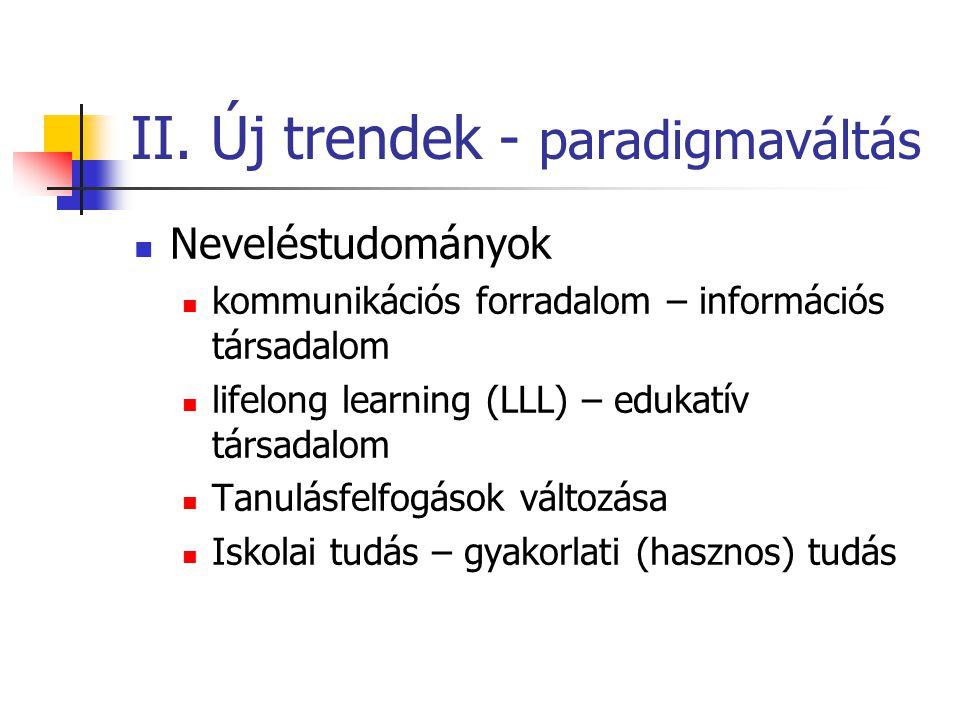 II. Új trendek - paradigmaváltás