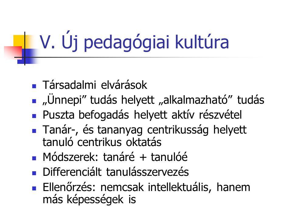 V. Új pedagógiai kultúra