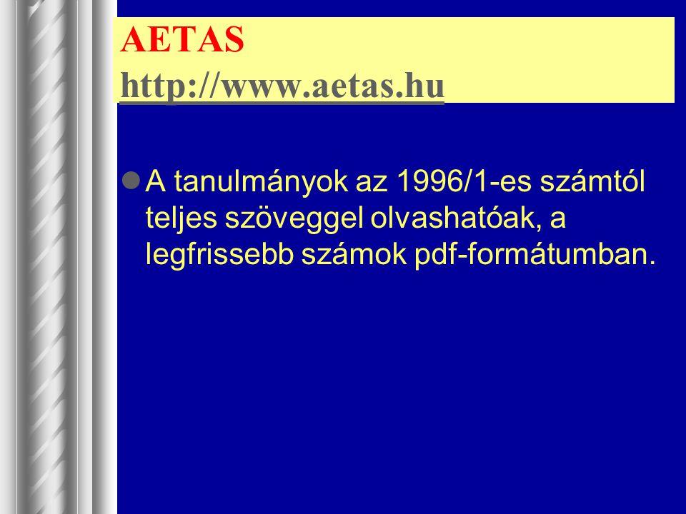 AETAS http://www.aetas.hu