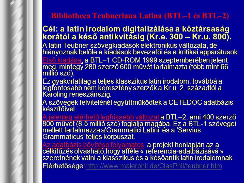 Bibliotheca Teubneriana Latina (BTL–1 és BTL–2)