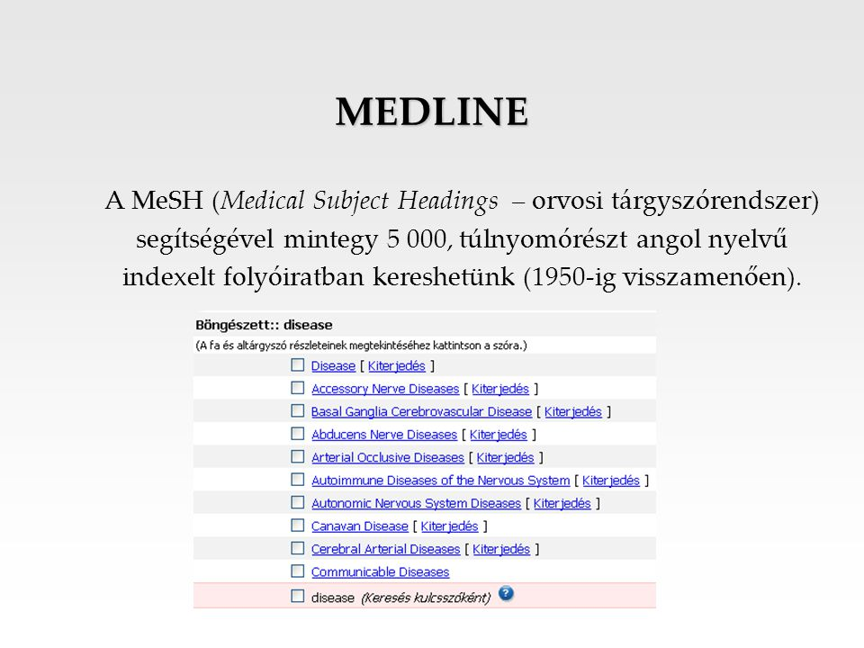 MEDLINE A MeSH (Medical Subject Headings – orvosi tárgyszórendszer)