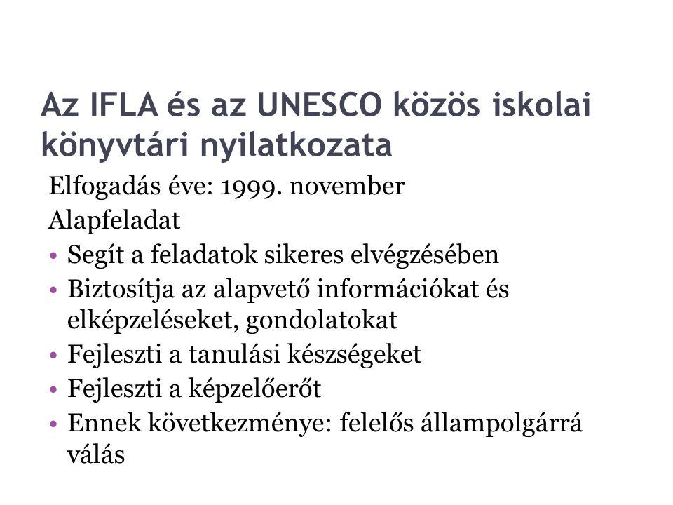 Az IFLA és az UNESCO közös iskolai könyvtári nyilatkozata