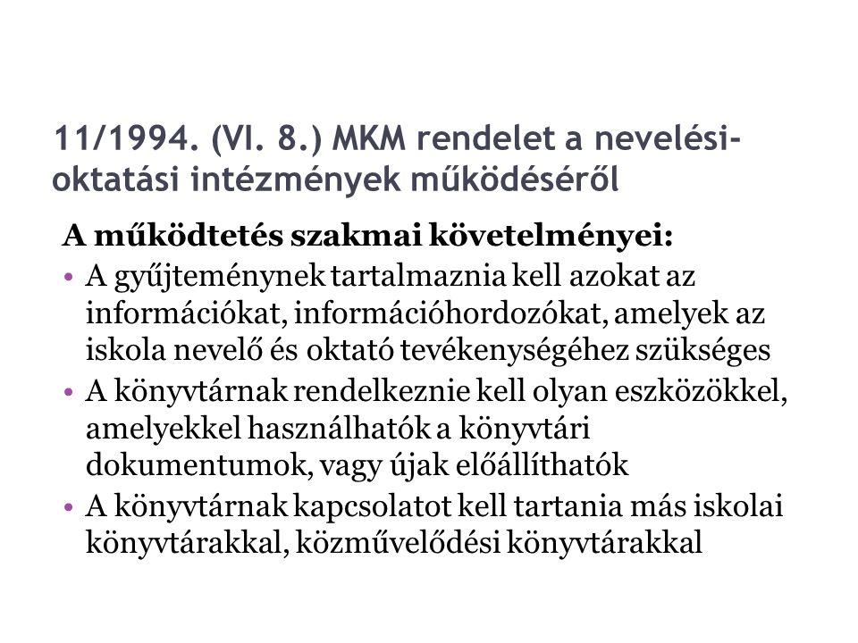 11/1994. (VI. 8.) MKM rendelet a nevelési-oktatási intézmények működéséről