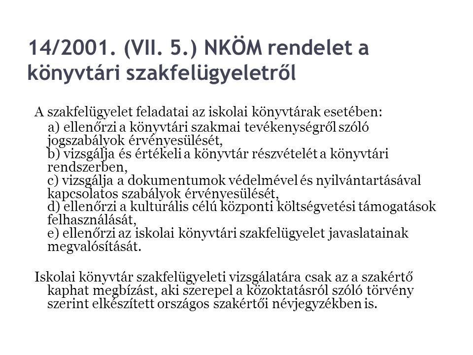14/2001. (VII. 5.) NKÖM rendelet a könyvtári szakfelügyeletről
