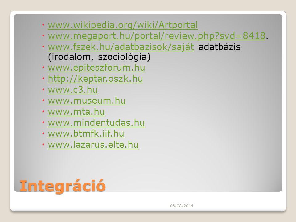 Integráció www.wikipedia.org/wiki/Artportal