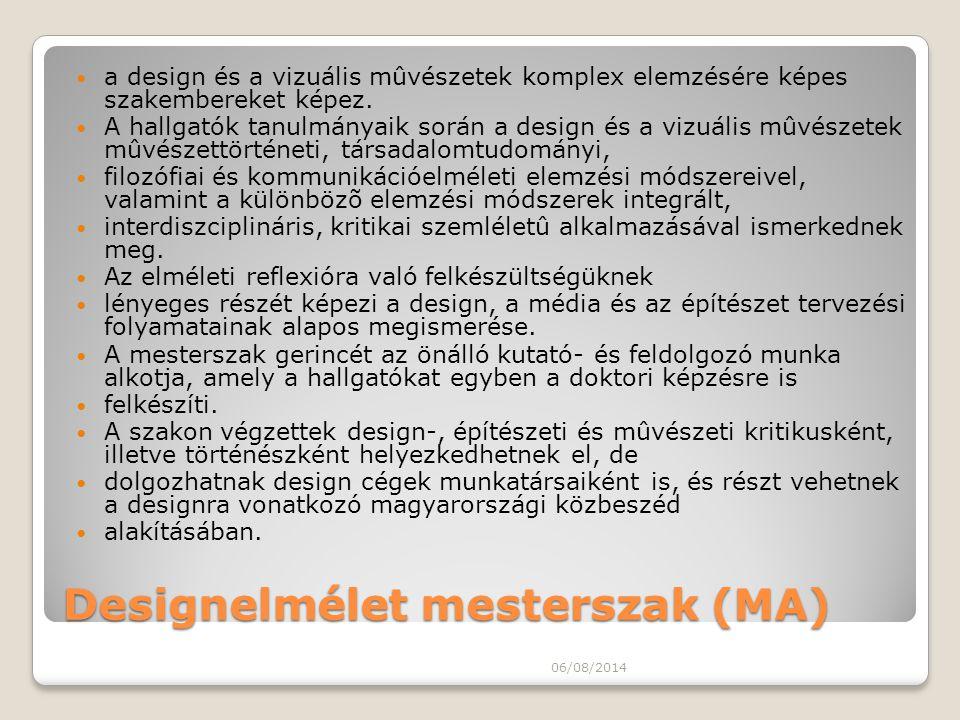 Designelmélet mesterszak (MA)