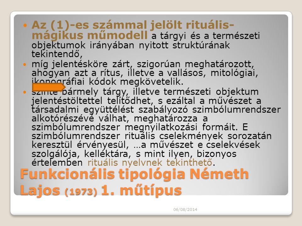 Funkcionális tipológia Németh Lajos (1973) 1. műtípus