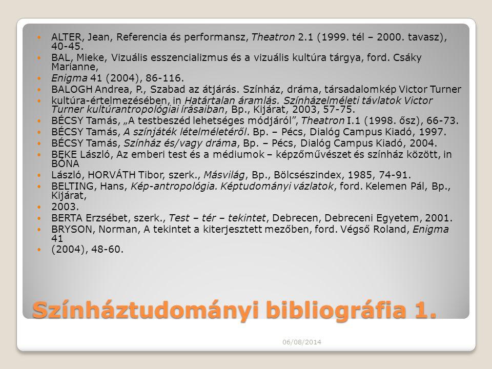 Színháztudományi bibliográfia 1.