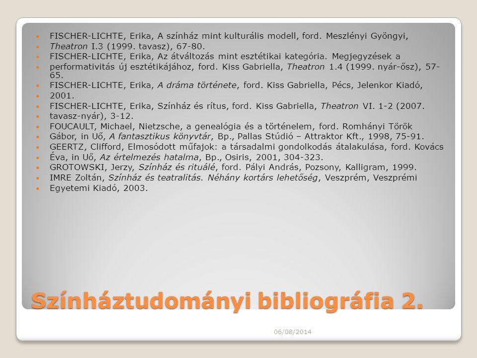 Színháztudományi bibliográfia 2.