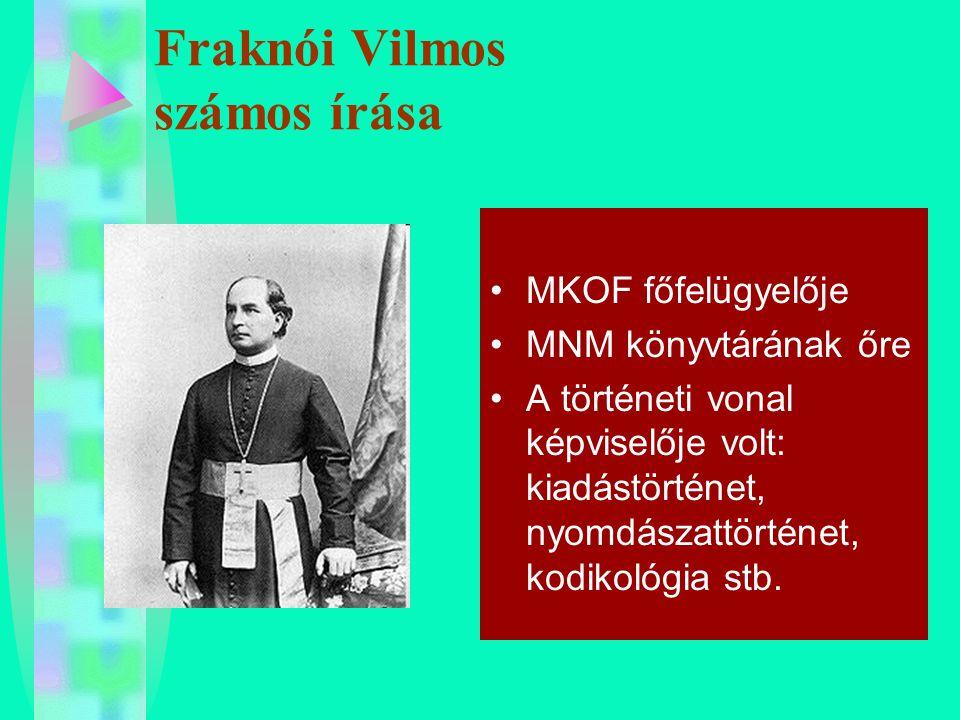 Fraknói Vilmos számos írása