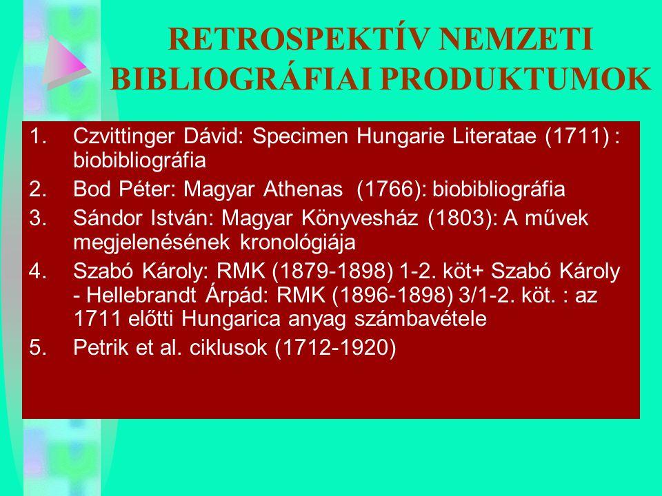 RETROSPEKTÍV NEMZETI BIBLIOGRÁFIAI PRODUKTUMOK