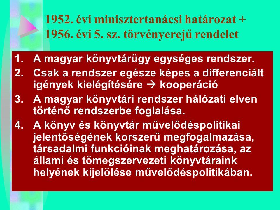 1952. évi minisztertanácsi határozat + 1956. évi 5. sz