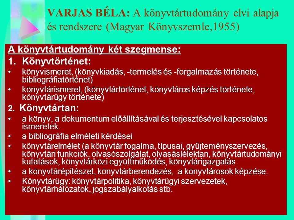 VARJAS BÉLA: A könyvtártudomány elvi alapja és rendszere (Magyar Könyvszemle,1955)