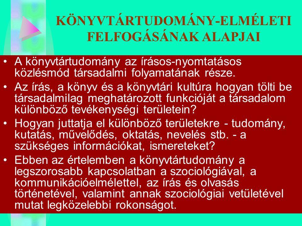 KÖNYVTÁRTUDOMÁNY-ELMÉLETI FELFOGÁSÁNAK ALAPJAI
