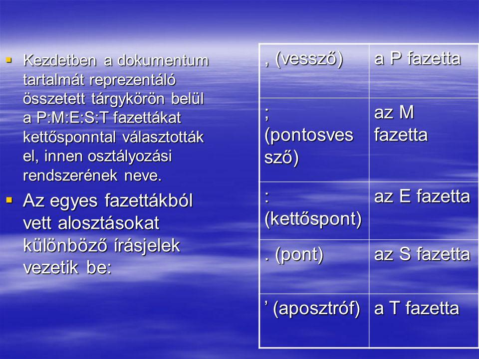 Az egyes fazettákból vett alosztásokat különböző írásjelek vezetik be: