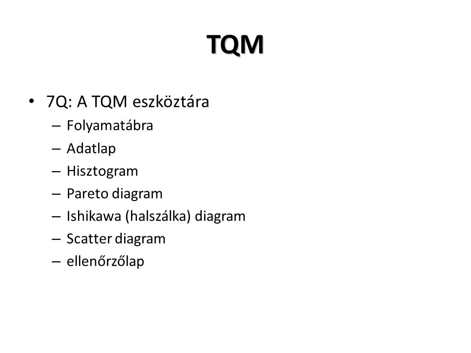 TQM 7Q: A TQM eszköztára Folyamatábra Adatlap Hisztogram