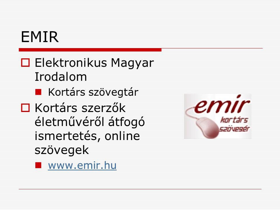 EMIR Elektronikus Magyar Irodalom