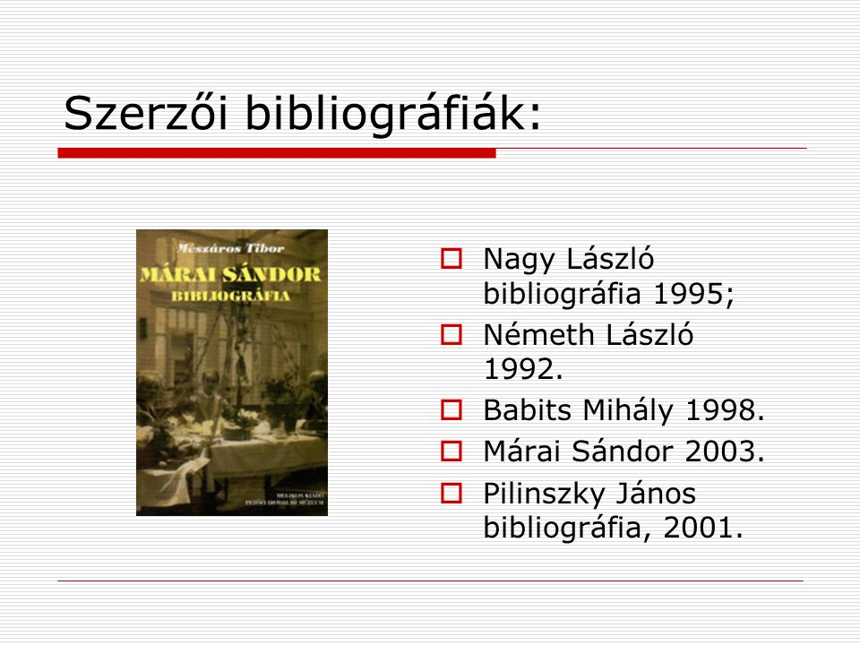 Szerzői bibliográfiák: