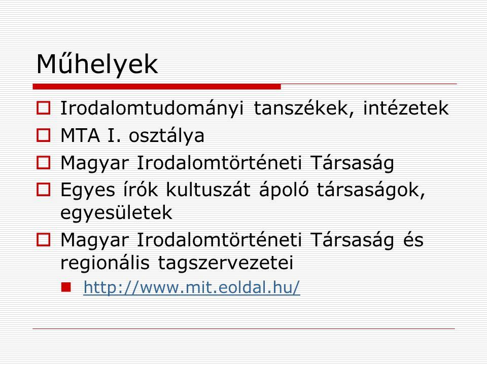 Műhelyek Irodalomtudományi tanszékek, intézetek MTA I. osztálya