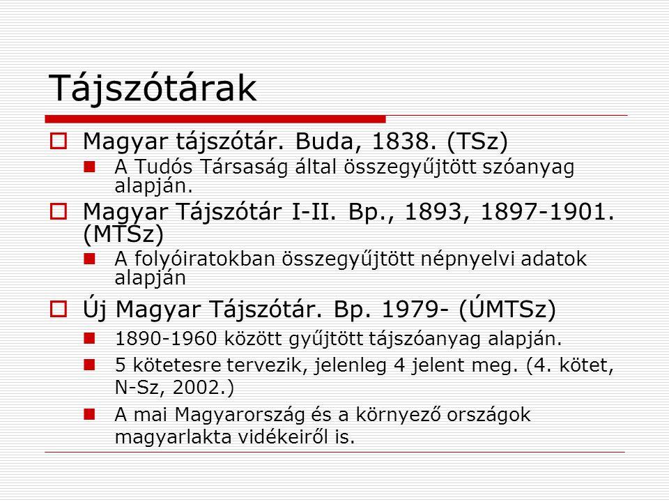Tájszótárak Magyar tájszótár. Buda, 1838. (TSz)