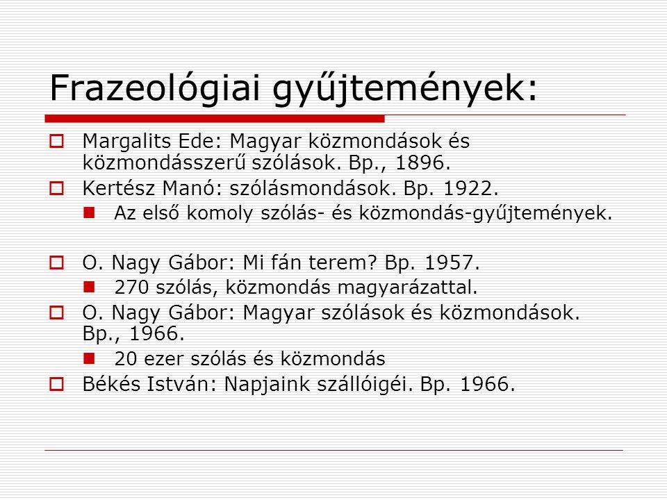 Frazeológiai gyűjtemények: