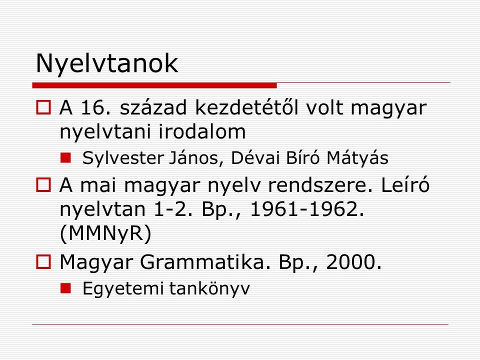 Nyelvtanok A 16. század kezdetétől volt magyar nyelvtani irodalom