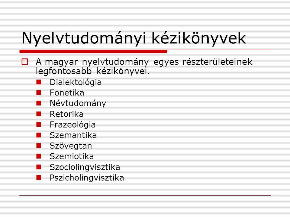 Nyelvtudományi kézikönyvek