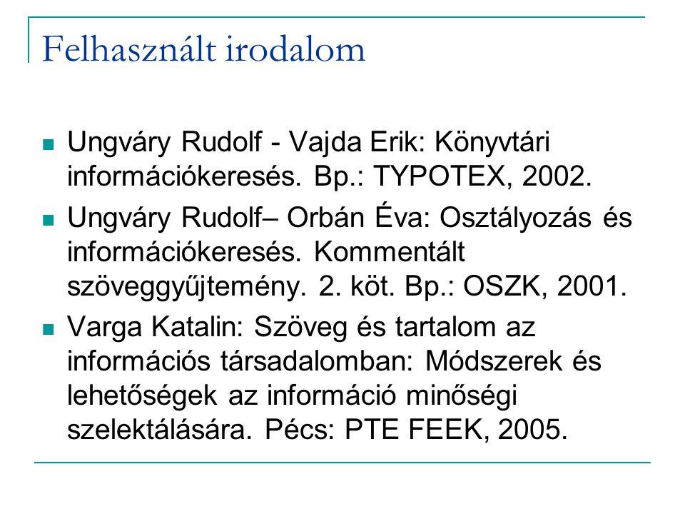 Felhasznált irodalom Ungváry Rudolf - Vajda Erik: Könyvtári információkeresés. Bp.: TYPOTEX, 2002.