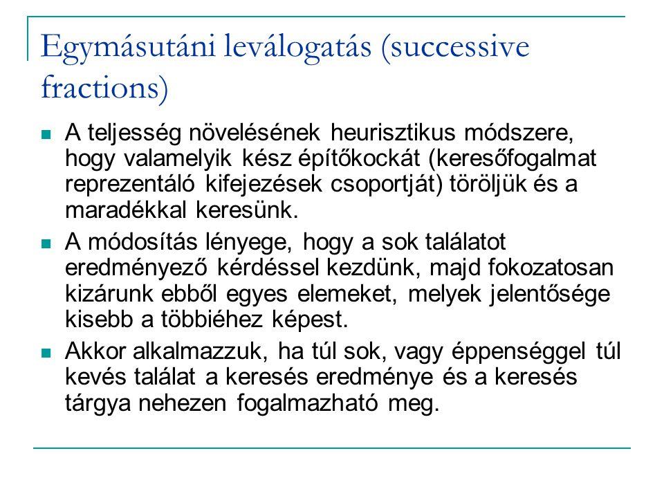Egymásutáni leválogatás (successive fractions)