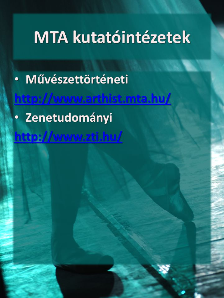 MTA kutatóintézetek Művészettörténeti http://www.arthist.mta.hu/