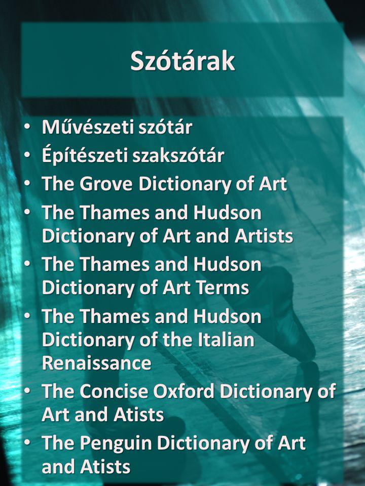 Szótárak Művészeti szótár Építészeti szakszótár