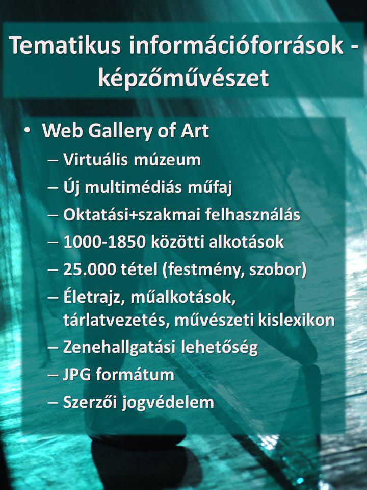 Tematikus információforrások - képzőművészet