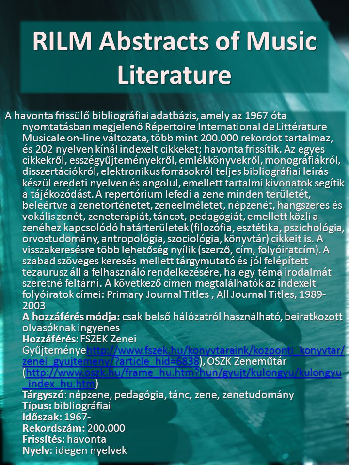 RILM Abstracts of Music Literature
