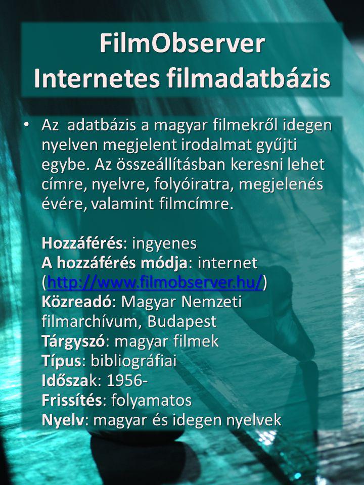 FilmObserver Internetes filmadatbázis