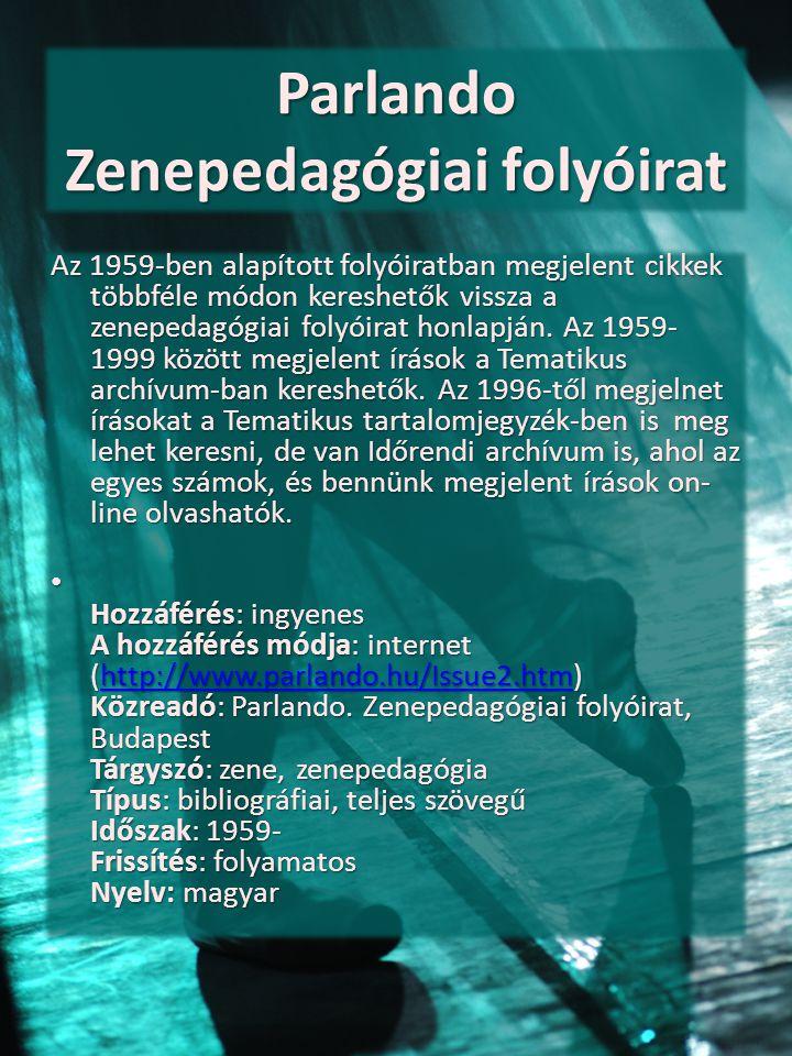 Parlando Zenepedagógiai folyóirat