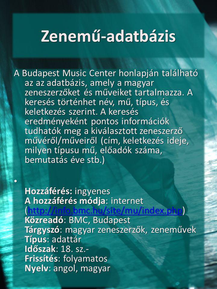 Zenemű-adatbázis
