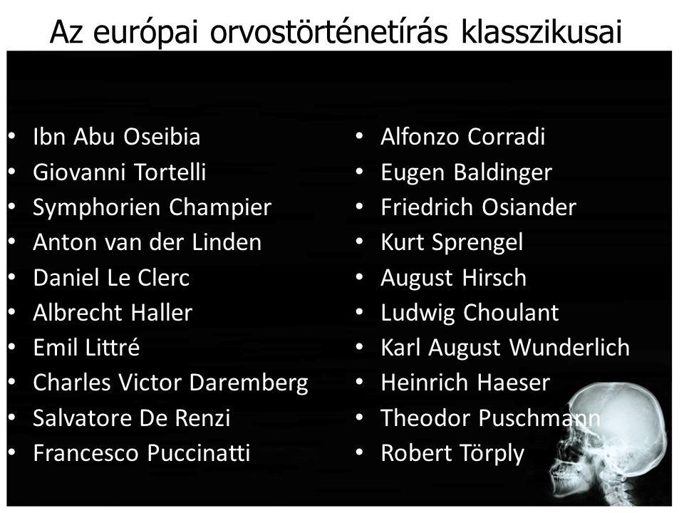Az európai orvostörténetírás klasszikusai