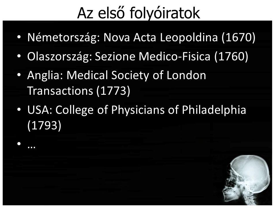 Az első folyóiratok Németország: Nova Acta Leopoldina (1670)
