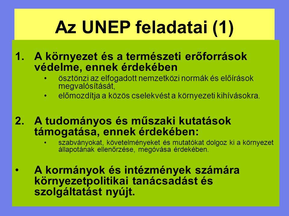 Az UNEP feladatai (1) A környezet és a természeti erőforrások védelme, ennek érdekében.